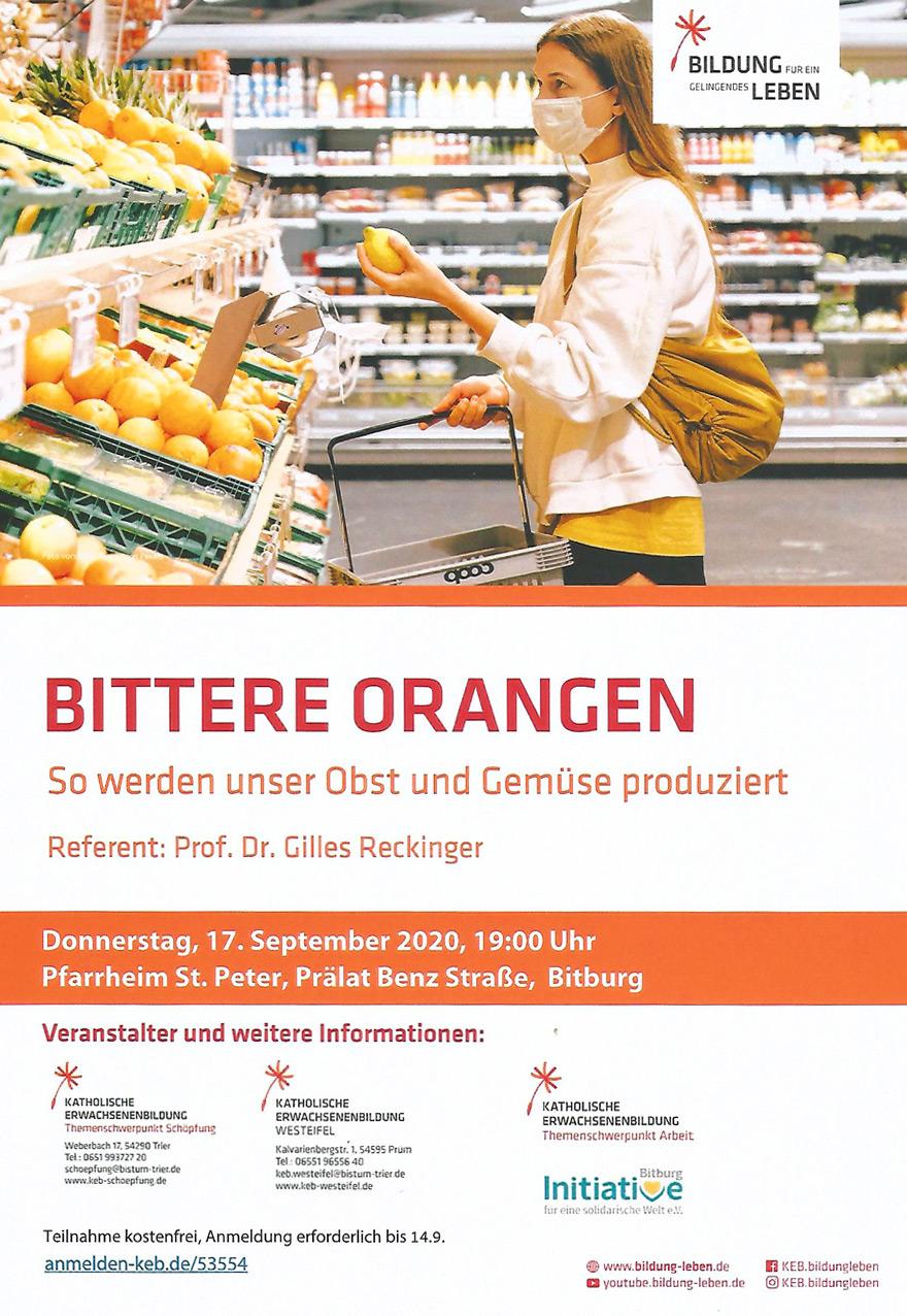Vortrag: Bittere Orangen im Pfarrheim St. Peter, Bitburg