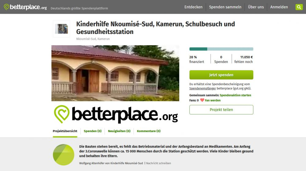 Nkoumisé-Sud, Kamerun auf betterplace.org - Die Bauten stehen bereit, es fehlt das Betriebsmaterial und der Anfangsbestand an Medikamenten.